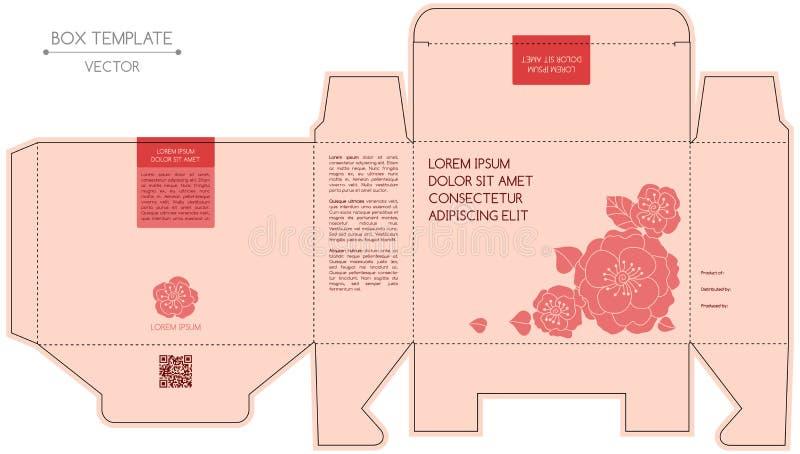 Diseño de la caja, pieza estampada en frío stock de ilustración