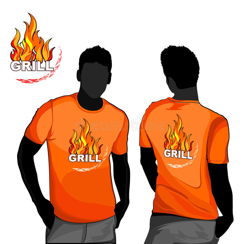 Diseño de la camiseta de la parrilla stock de ilustración