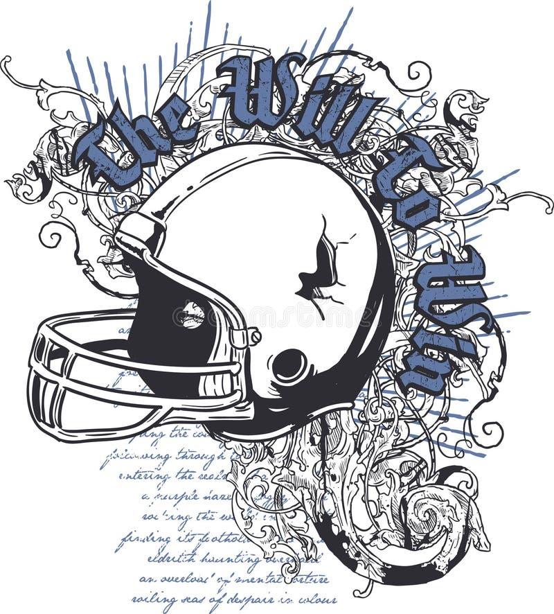 Diseño de la camiseta del casco stock de ilustración