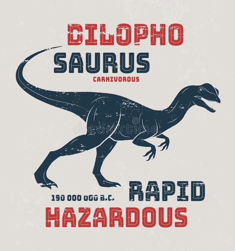 Diseño de la camiseta del Dilophosaurus, impresión, tipografía, etiqueta ilustración del vector