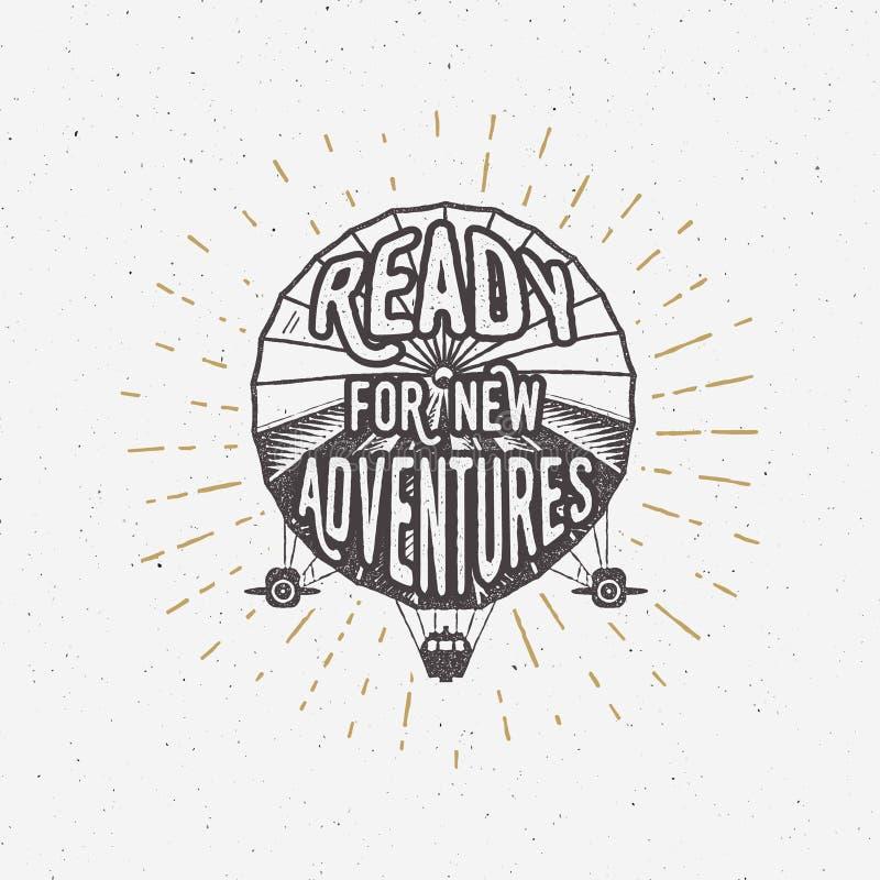 Diseño de la camiseta del dirigible del vintage Cartel dirigible retro Diseño de letra de la aventura Diseño del vector de la eti libre illustration