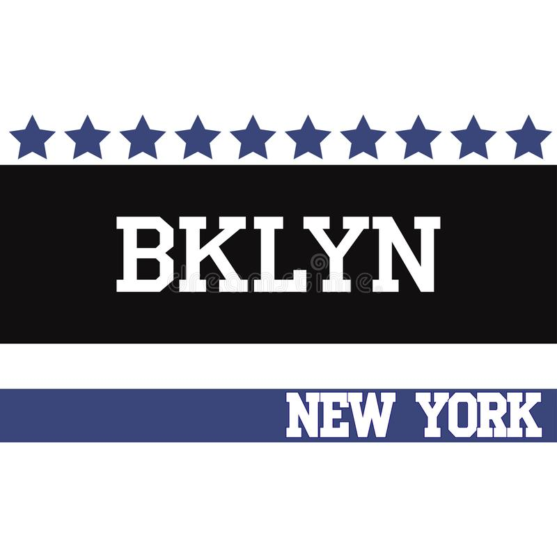 Diseño de la camiseta del equipo de Brooklyn del deporte de Nueva York ilustración del vector