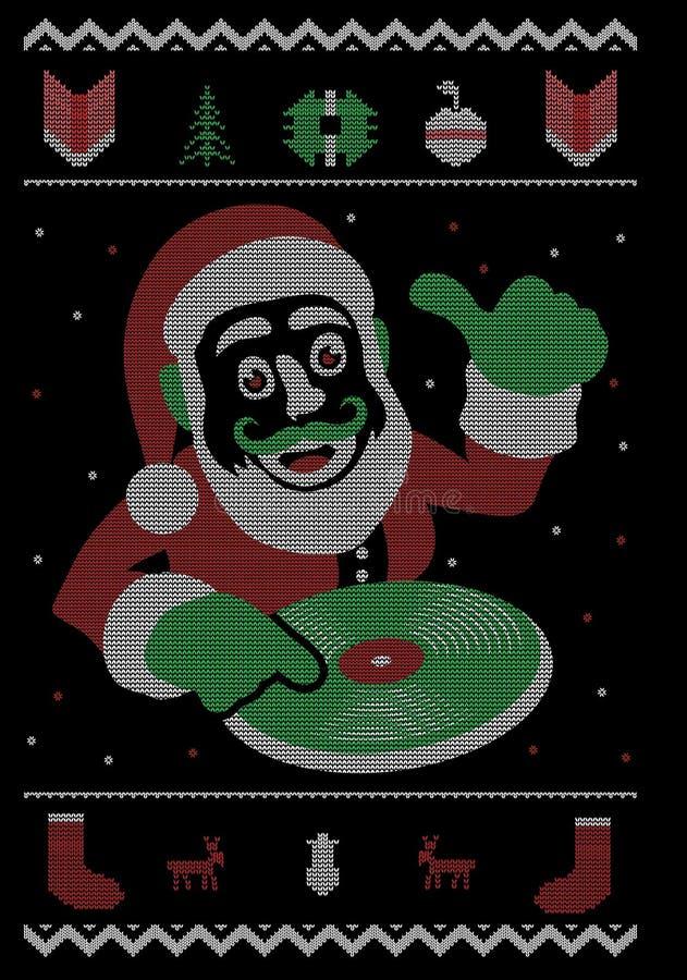 Diseño de la camiseta de DJ Santa Christmas Dance Party Style ilustración del vector