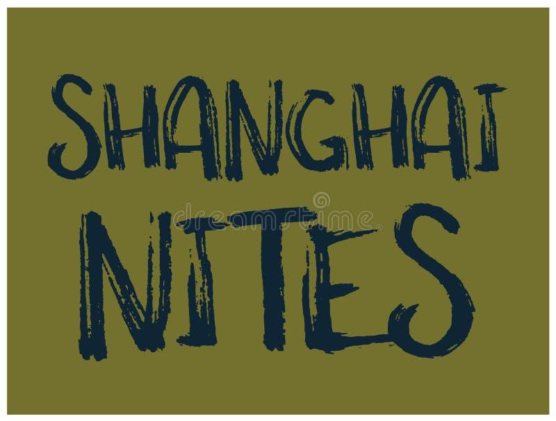 Diseño de la camiseta de los nites de Shangai stock de ilustración