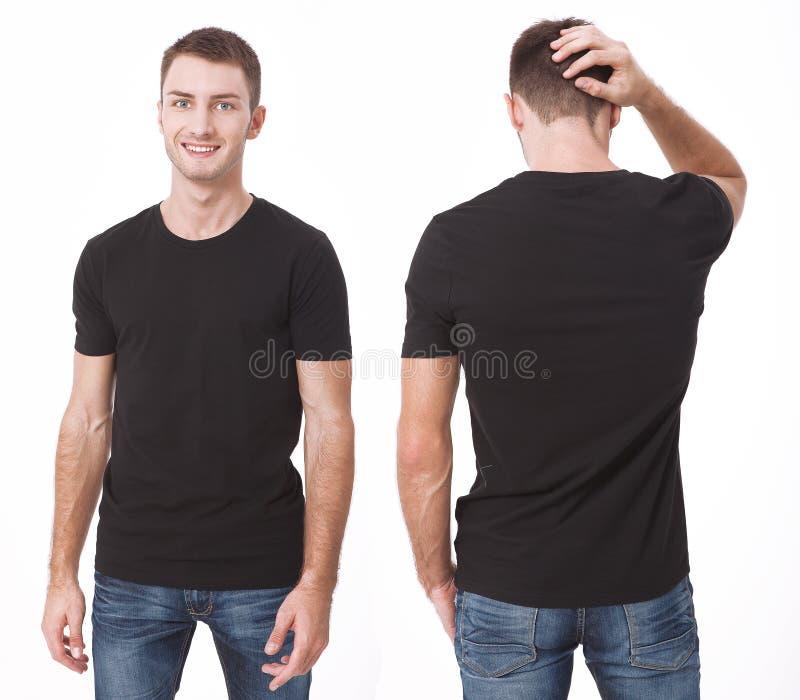 Diseño de la camiseta y concepto de la gente - cercano para arriba de hombre joven en camiseta blanca en blanco Mofa limpia de la imagen de archivo libre de regalías