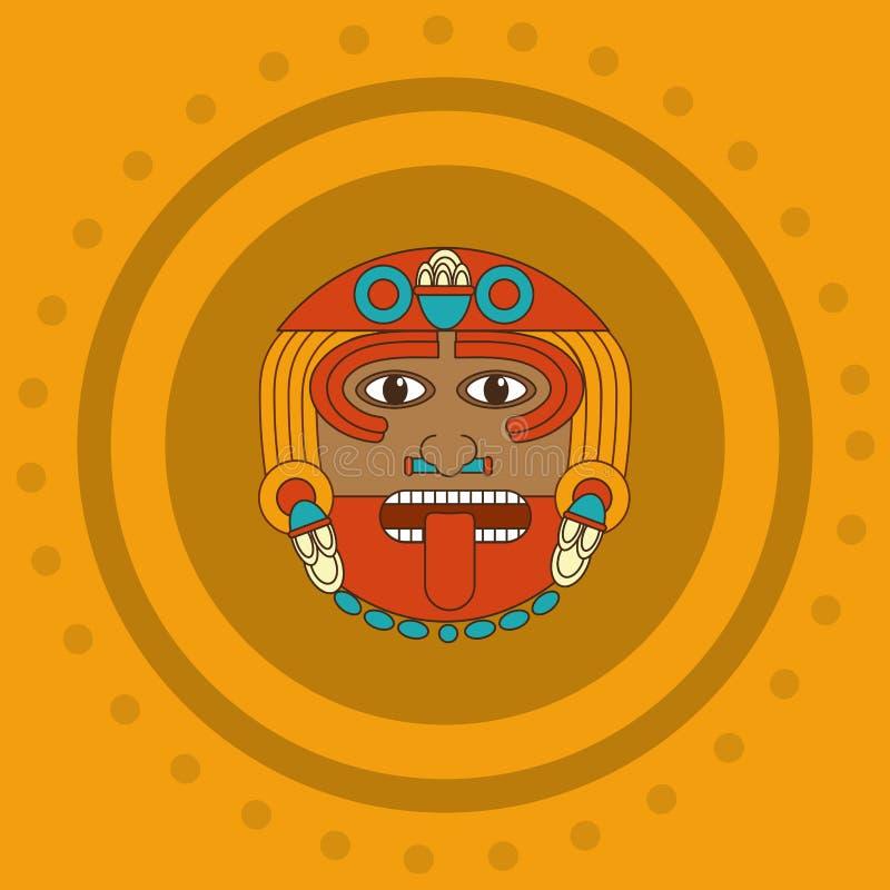 Diseño de la cara del maya ilustración del vector