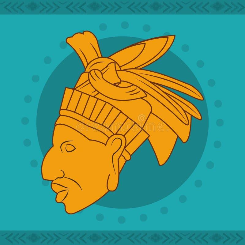 Diseño de la cara del maya stock de ilustración