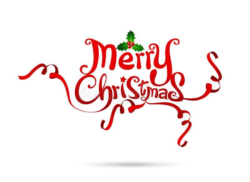 Diseño de la carta blanca del texto de la Feliz Navidad en el backgrou blanco stock de ilustración