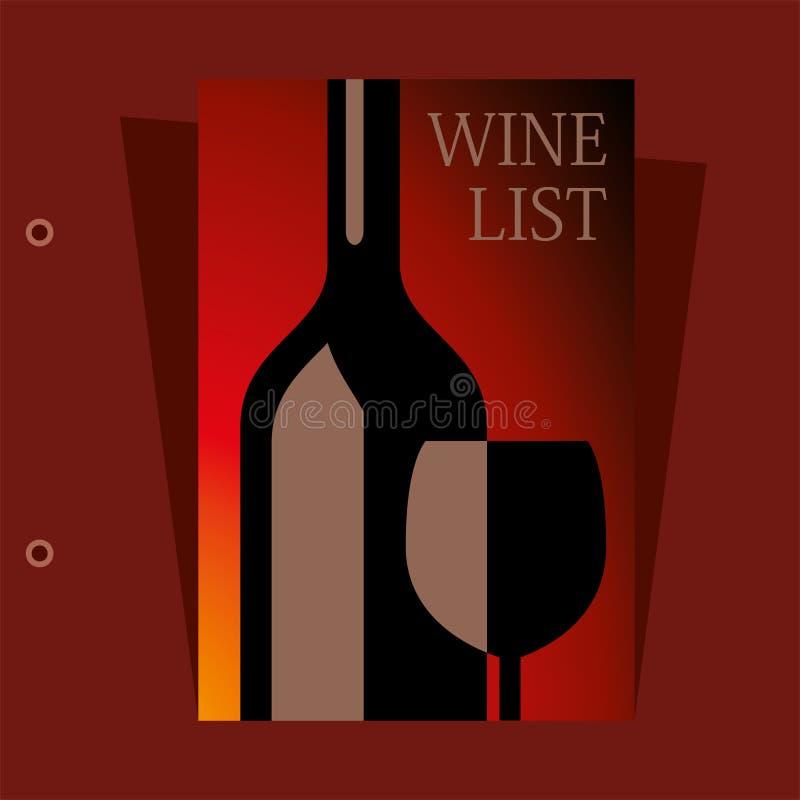diseño de la carta de vinos del vector ilustración del vector
