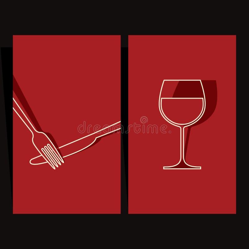 Diseño de la carta de vinos y del menú ilustración del vector