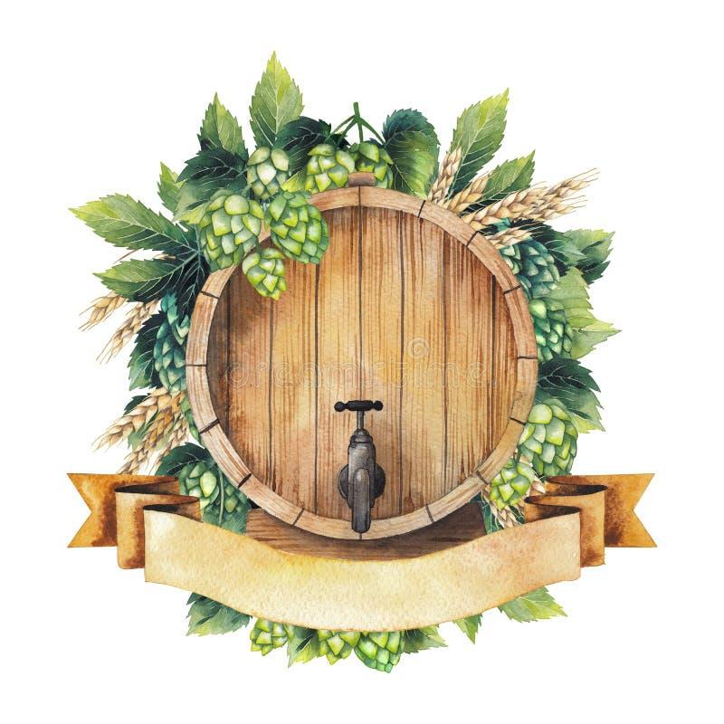 Diseño de la cerveza de la acuarela stock de ilustración