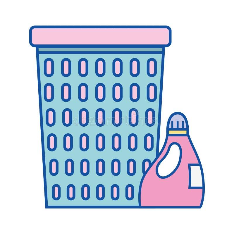 Diseño de la cesta con el producto de la botella del suavizador stock de ilustración