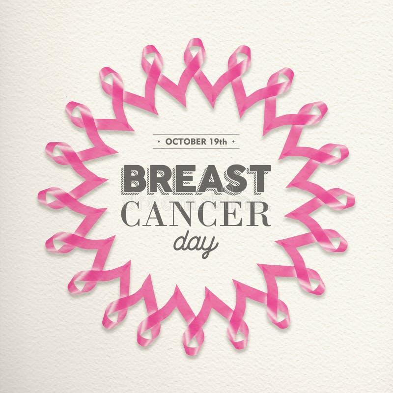 Diseño de la cinta del rosa del día del cáncer de pecho para la ayuda ilustración del vector