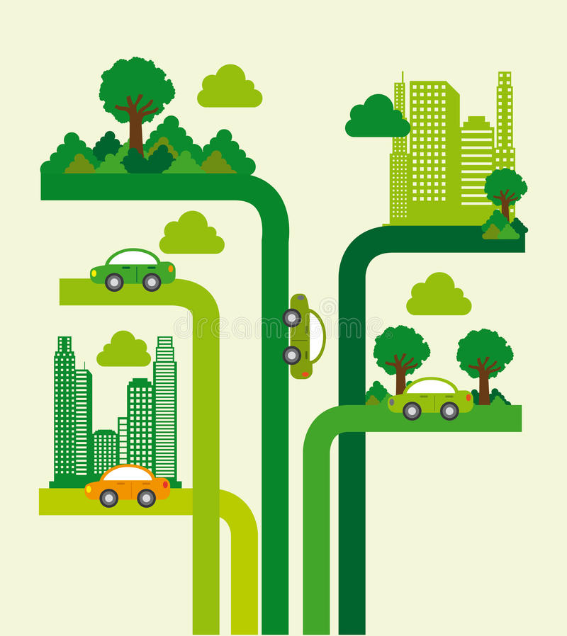 Diseño de la ciudad del árbol stock de ilustración