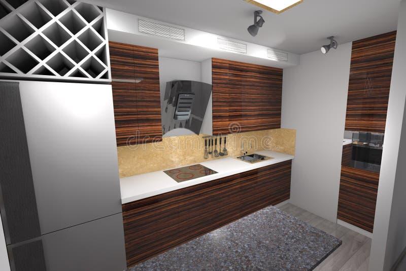 diseño de la cocina 3D moderno imágenes de archivo libres de regalías