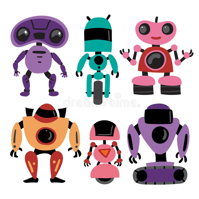 Diseño de la colección del vector de los robots ilustración del vector