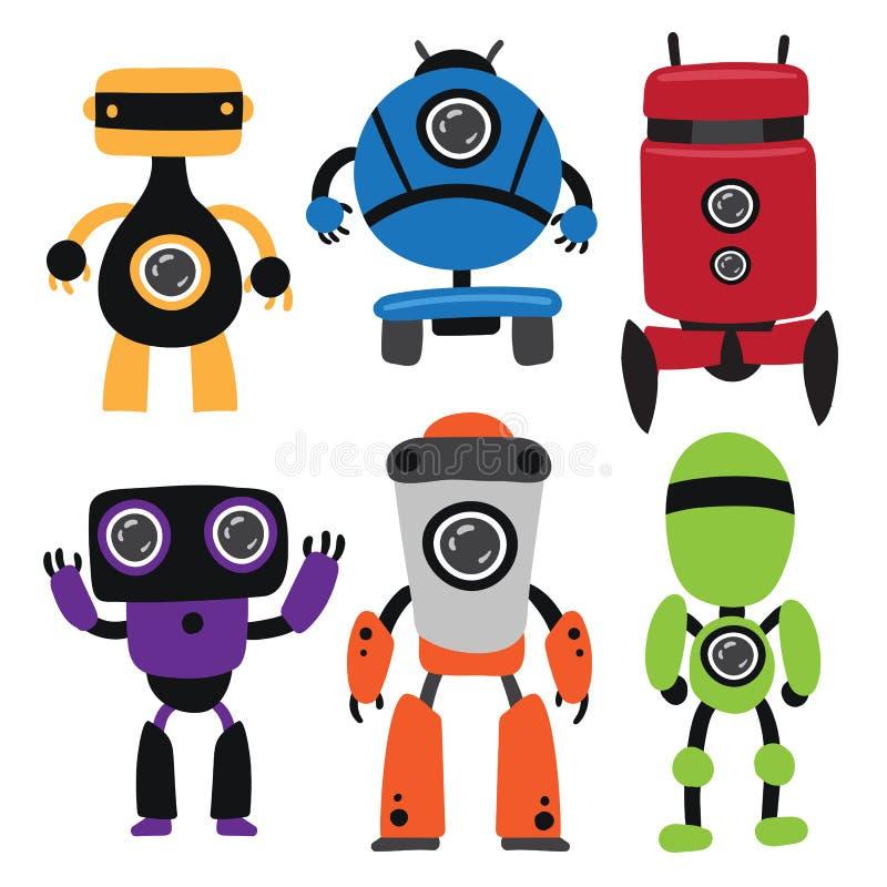 Diseño de la colección del vector de los robots stock de ilustración