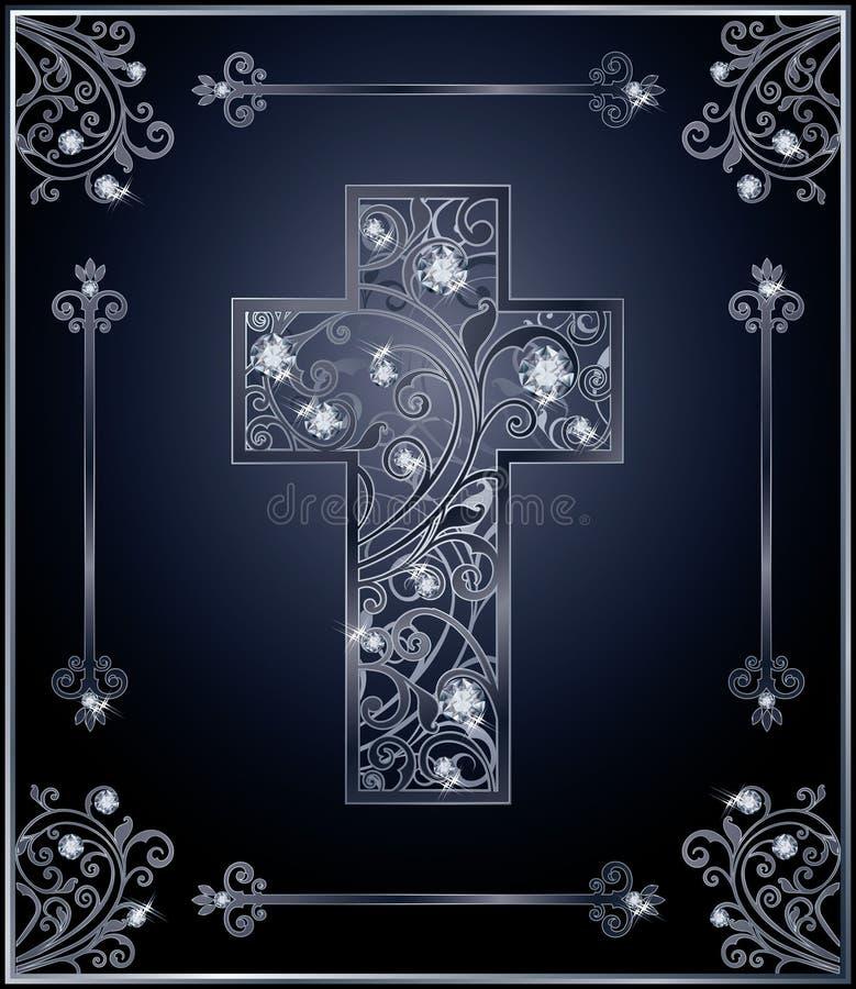 Diseño de la cubierta de la cruz de Diamond Easter ilustración del vector