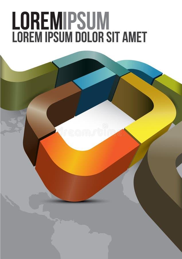Diseño de la cubierta del folleto con las rayas y los continentes ilustración del vector