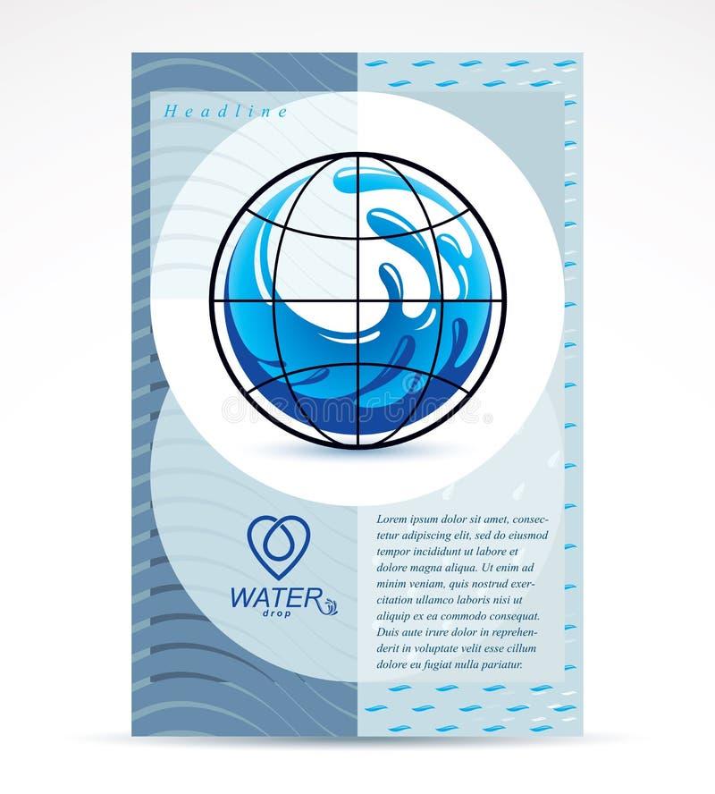 Diseño de la cubierta del folleto del tema de la filtración del agua, página delantera Freshwa ilustración del vector