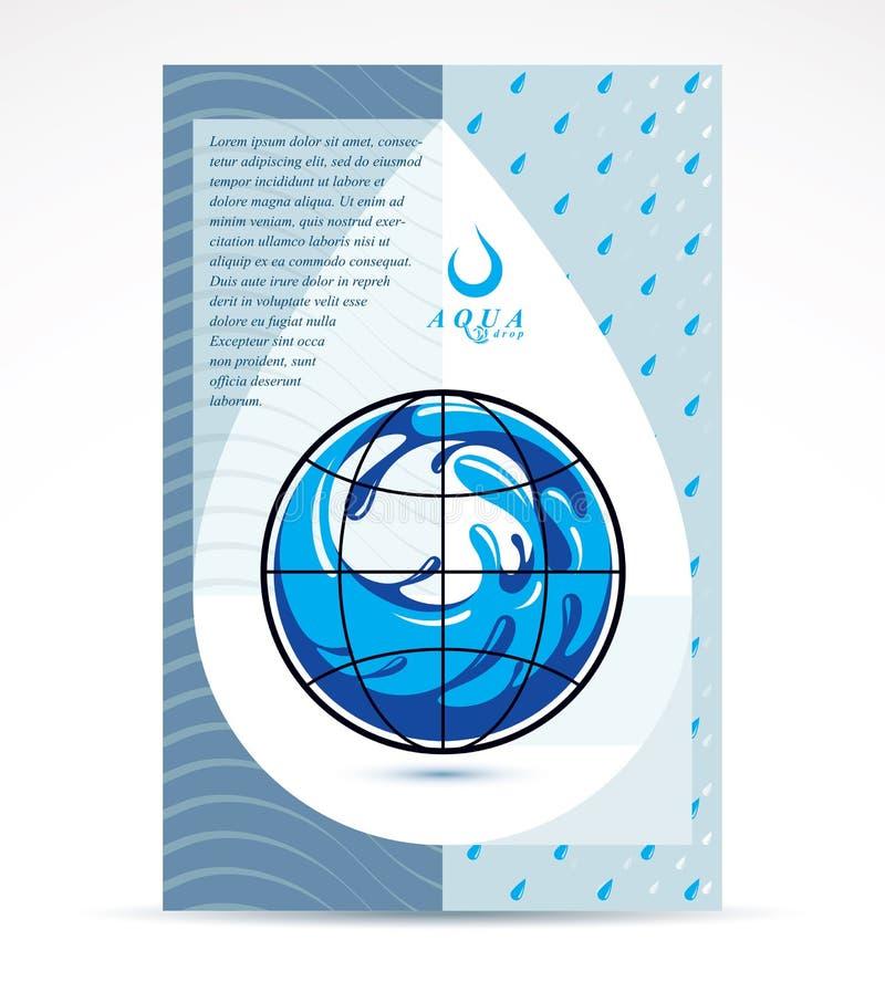 Diseño de la cubierta del folleto del tema de la filtración del agua, página delantera Freshwa libre illustration