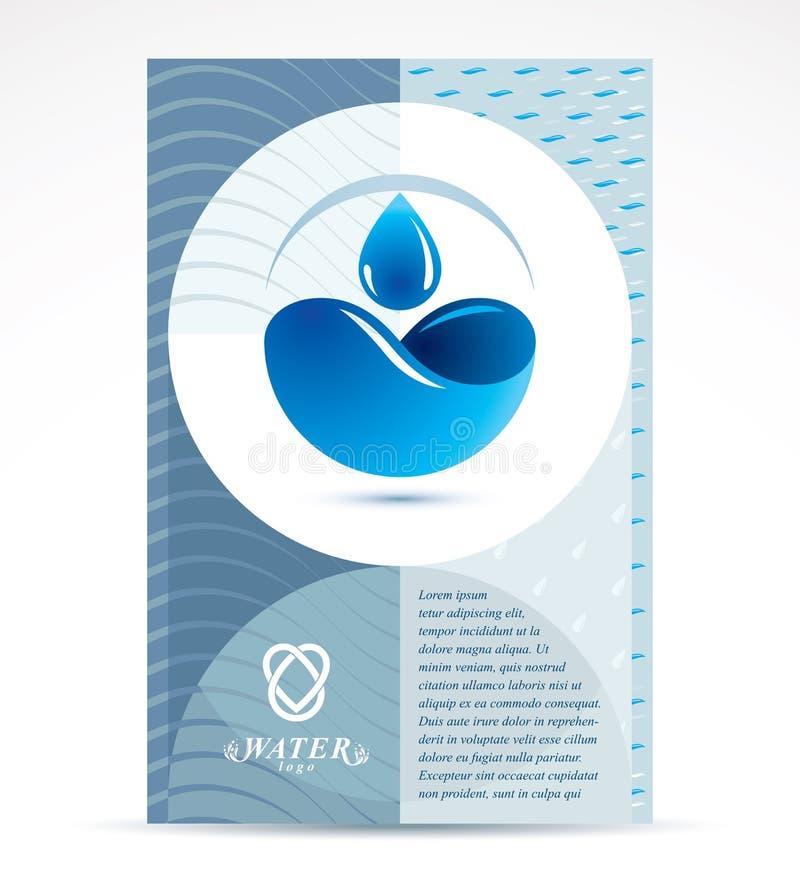 Diseño de la cubierta del folleto del tema de la filtración del agua, página delantera para el uso stock de ilustración
