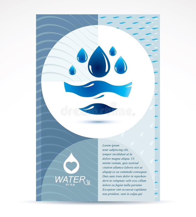 Diseño de la cubierta del folleto del tema de la filtración del agua, página delantera para el uso ilustración del vector