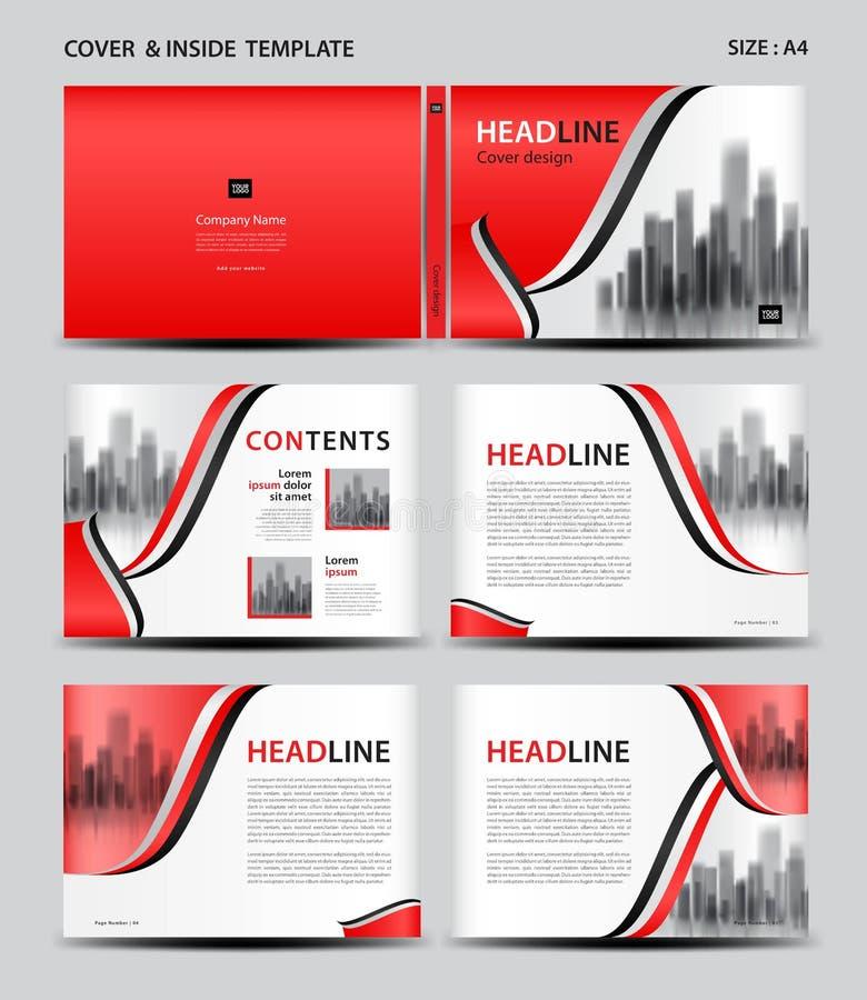 Diseño de la cubierta y plantilla rojos del interior para la revista, anuncios, presentación, informe anual, libro, prospecto, ca libre illustration