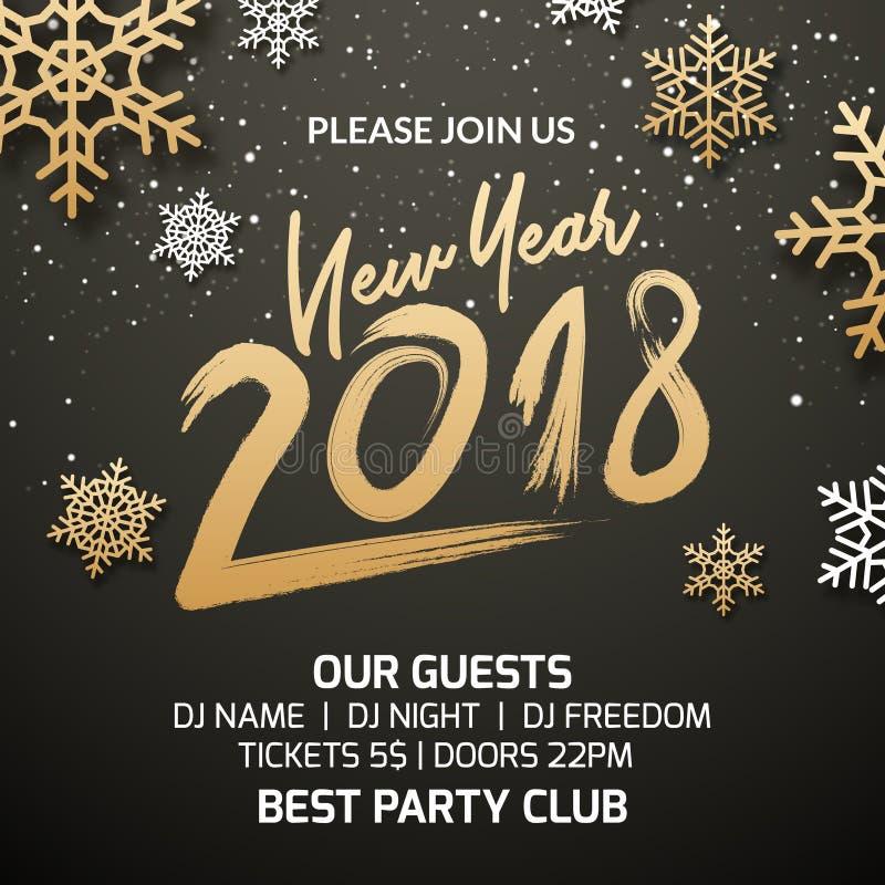 Diseño de la decoración de la invitación del cartel del partido del Año Nuevo 2018 Fondo de la plantilla del día de fiesta de Nav libre illustration