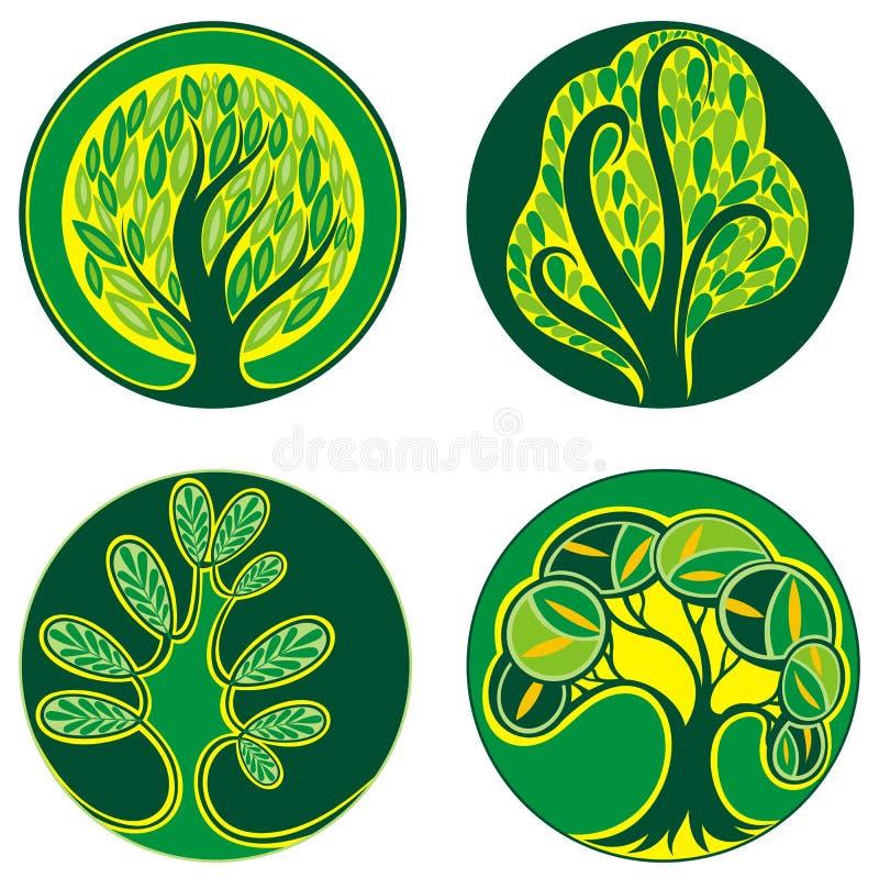 Diseño de la decoración de sistema del icono del árbol ilustración del vector