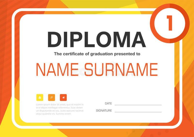 Diseño de la disposición de la plantilla del fondo del certificado del diploma del amarillo anaranjado A4 ilustración del vector