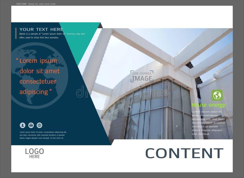 Diseño de la disposición de la presentación para la plantilla de la página de cubierta de las propiedades inmobiliarias, fondo mo ilustración del vector