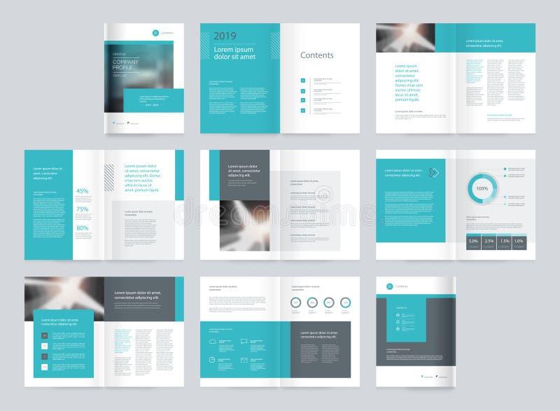 Diseño de la disposición de la plantilla con la página de cubierta para el perfil de compañía, informe anual, folletos, oferta, a ilustración del vector