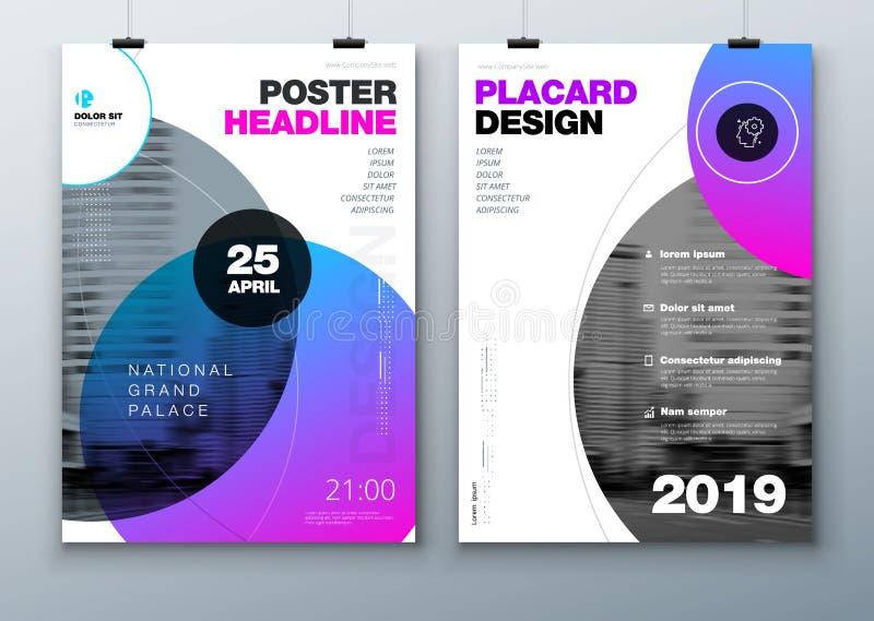 Diseño de la disposición de la plantilla del cartel Cartel del negocio, maqueta del fondo del cartel en colores brillantes Ejempl ilustración del vector