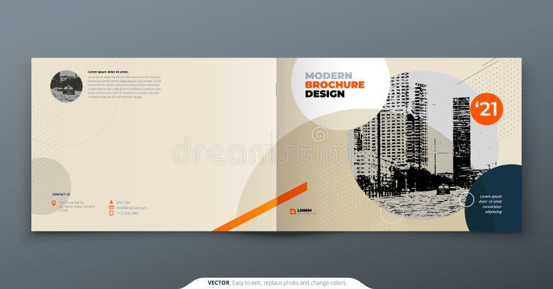 Diseño de la disposición de la plantilla del folleto Informe anual del negocio corporativo, catálogo, revista, folleto, maqueta d ilustración del vector