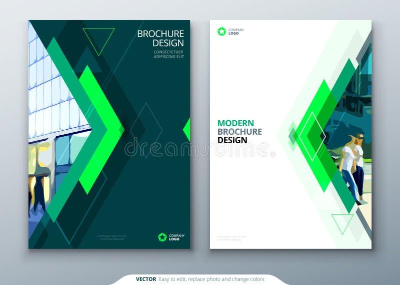 Diseño de la disposición de la plantilla del folleto Informe anual del negocio corporativo, catálogo, revista, maqueta del aviado ilustración del vector