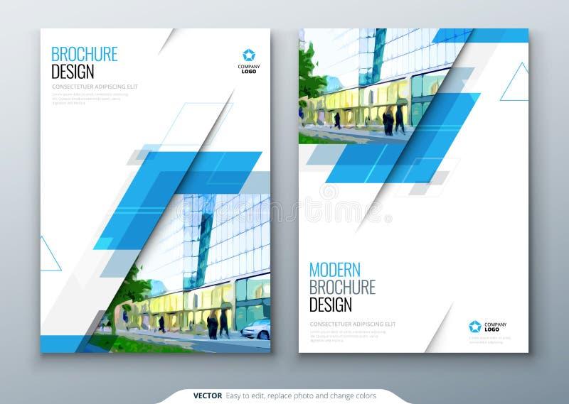 Diseño de la disposición de la plantilla del folleto Informe anual del negocio corporativo, catálogo, revista, maqueta del aviado stock de ilustración