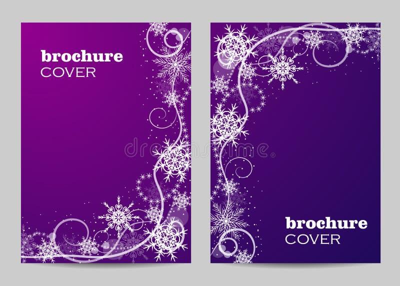 Diseño de la disposición de la plantilla del folleto Modelo hermoso del invierno en el fondo violeta ilustración del vector