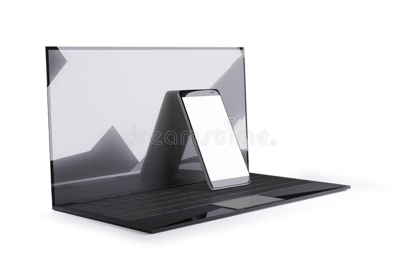 Diseño de la elegancia del teléfono celular 3d-illustration del ordenador portátil y stock de ilustración