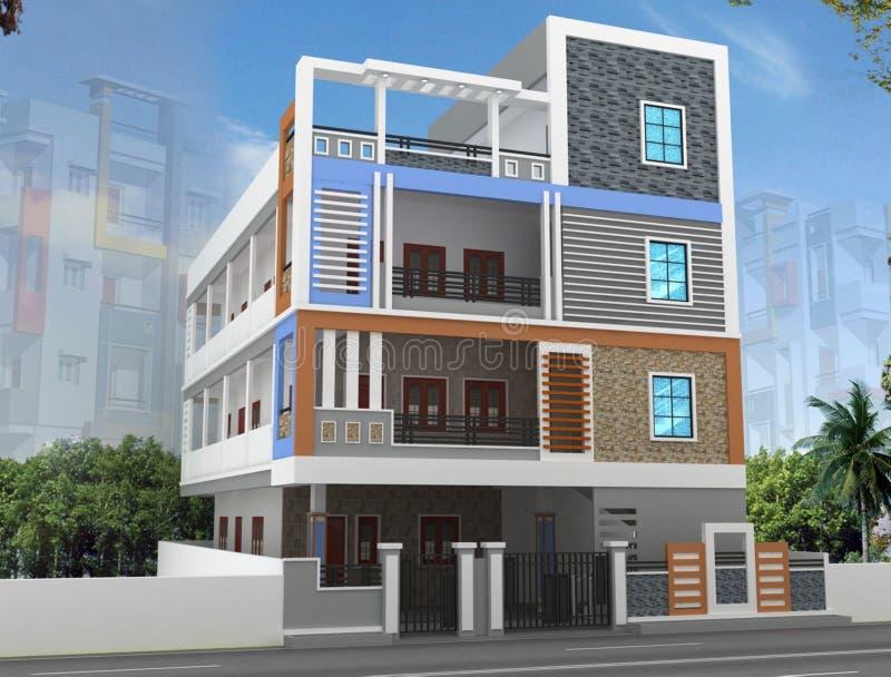 diseño de la elevación del edificio 3D libre illustration
