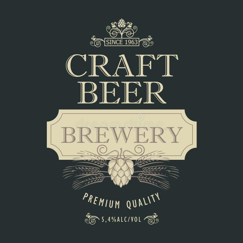 Diseño de la escritura de la etiqueta de la cerveza stock de ilustración