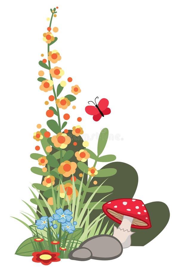 Diseño de la esquina del ejemplo de la historieta con las flores y setas y mariposa libre illustration
