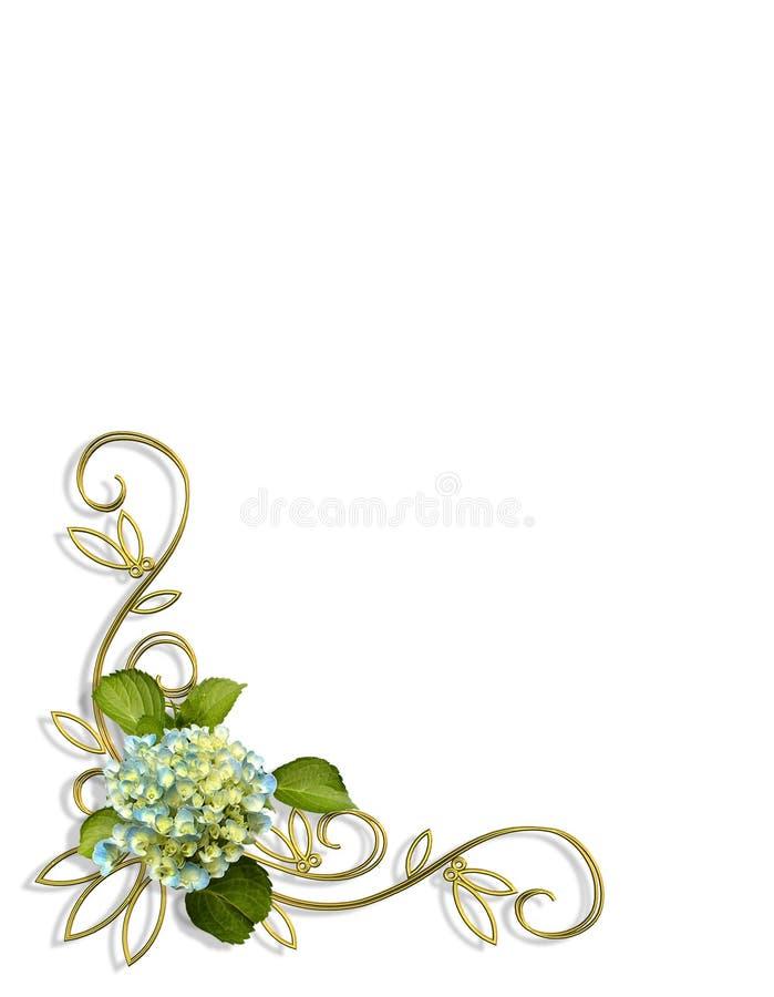 Diseño de la esquina floral del Hydrangea stock de ilustración