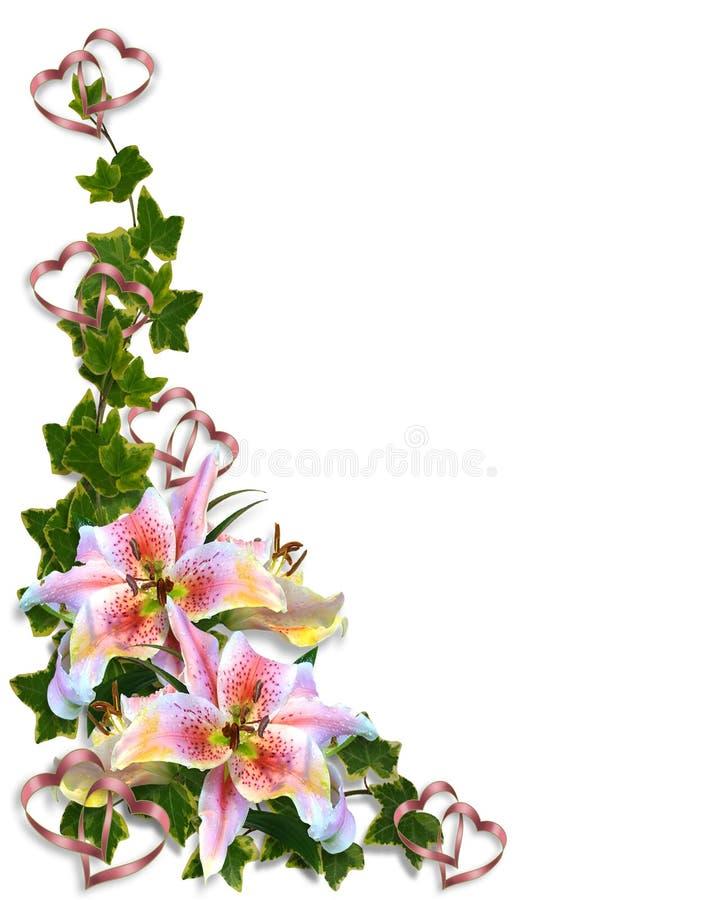 Diseño de la esquina floral del lirio libre illustration