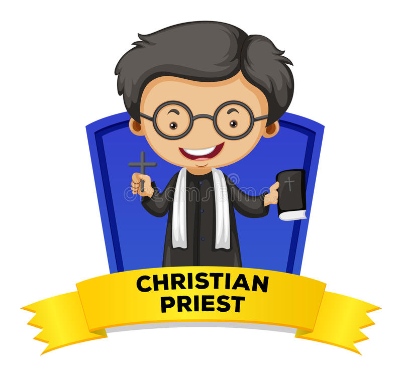 Diseño de la etiqueta con el sacerdote cristiano ilustración del vector