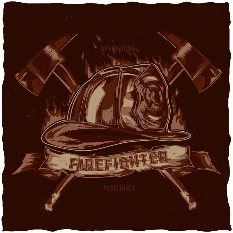 Diseño de la etiqueta de la camiseta del bombero con el ejemplo del casco con las hachas cruzadas ilustración del vector