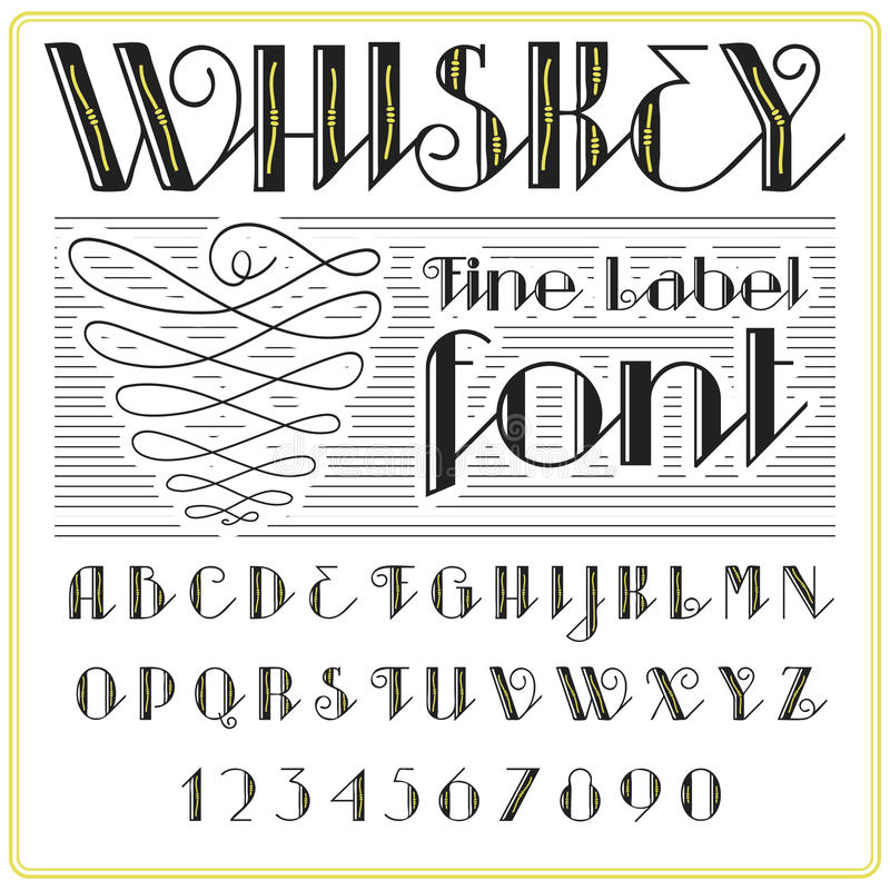 Diseño de la etiqueta de la fuente y de la muestra de la etiqueta del whisky vintage que mira tipografía en colores del negro-oro stock de ilustración