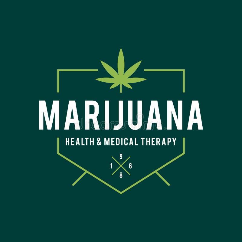 Diseño de la etiqueta de la marijuana del vintage, salud y terapia médica, ejemplo del cáñamo del vector stock de ilustración