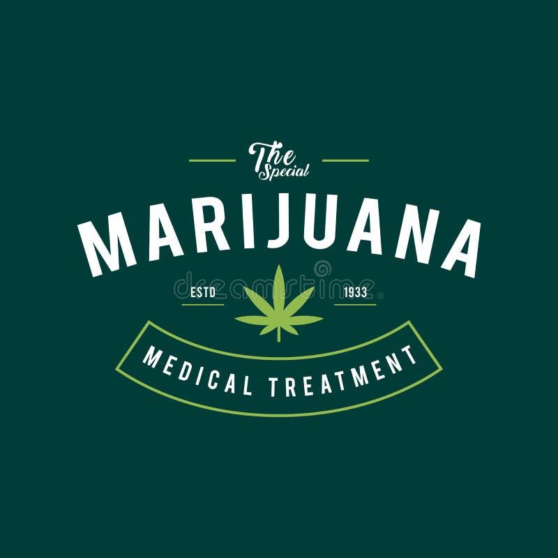 Diseño de la etiqueta de la marijuana del vintage, salud y terapia médica, ejemplo del cáñamo del vector ilustración del vector