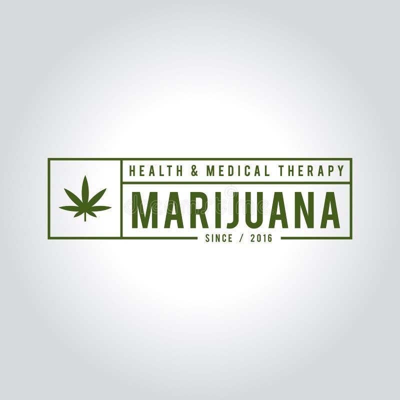 Diseño de la etiqueta de la marijuana del vintage, salud y terapia médica, ejemplo del cáñamo del vector libre illustration